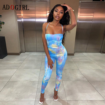 Adogirl Floral Print Bodycon Jumpsuit Women Sleeveless Sexy Active Wear Backless Party Club Elastic Hight Outfits 2020