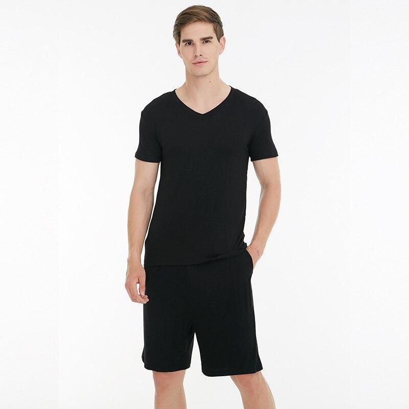Men Pajamas Suit Nightwear Short-Sleeve Large-Size 4XL Black 3XL 2pcs Loose Comfortabale
