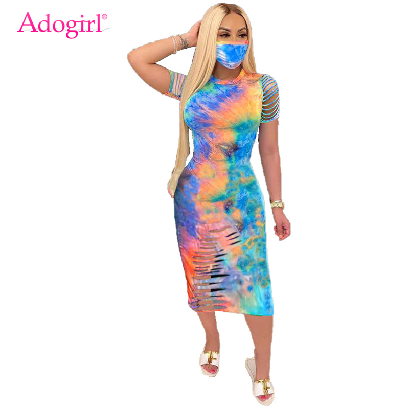 Adogirl Hollow Out Tie Dye Print Women Summer Dress O Neck Short Sleeve Bodycon Midi Casual Dresses Female Vestidos Robe