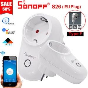 Умный WiFi переключатель Sonoff S26, ЕС, США, Великобритания, AU, CN, разъем, умный дом, автоматизация, пульт дистанционного управления, розетка, компл...