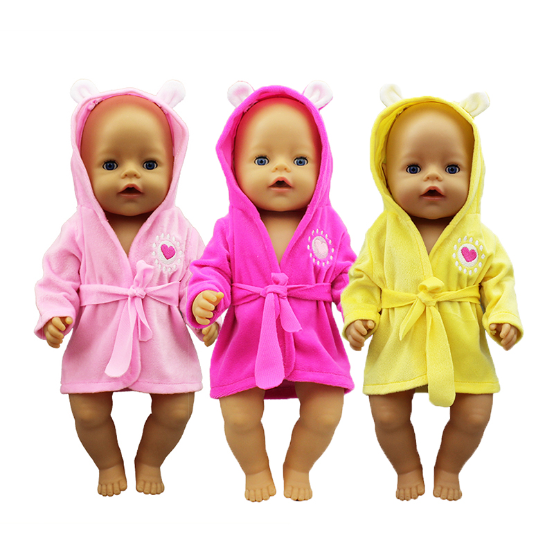 New Bathrobe Doll Clothes Born Babies Fit 17 Inch 43cm Doll Accessories For Baby Festiival Gift