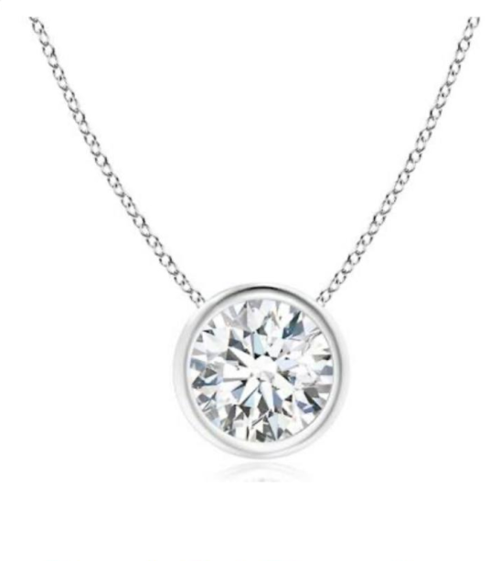 14k White Gold Bezel Setting Pendant 1.2mm Thickness 45mm Length Chain With 12.5mm D Color Round Brilliant Cut Moissanite