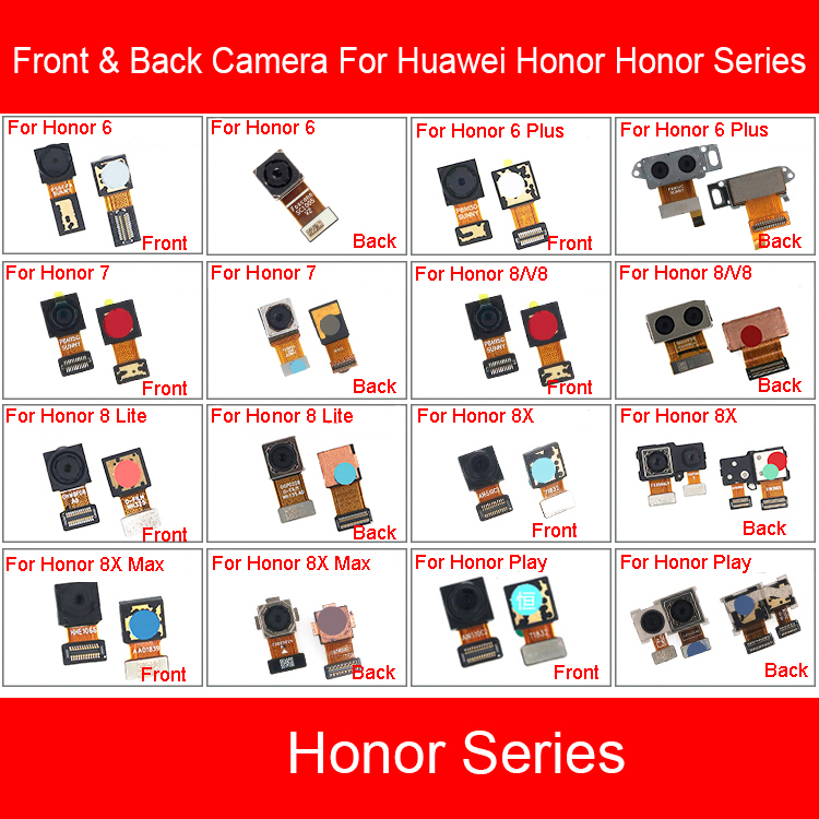 Front & Rear Camera Module Flex Cable For Huawei Honor 6 7 8 V8 8x Max Lite Plus Play Main Back Big Facing Small Camera Repair