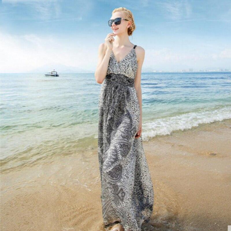 Summer Silk Dress Women High Quality Elegent V-Neck Holiday Natural Silk Beach Spaghetti Strap Long Black Dress Free Shipping