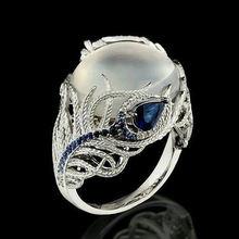 Женские кольца с большим опалом из стерлингового серебра s925