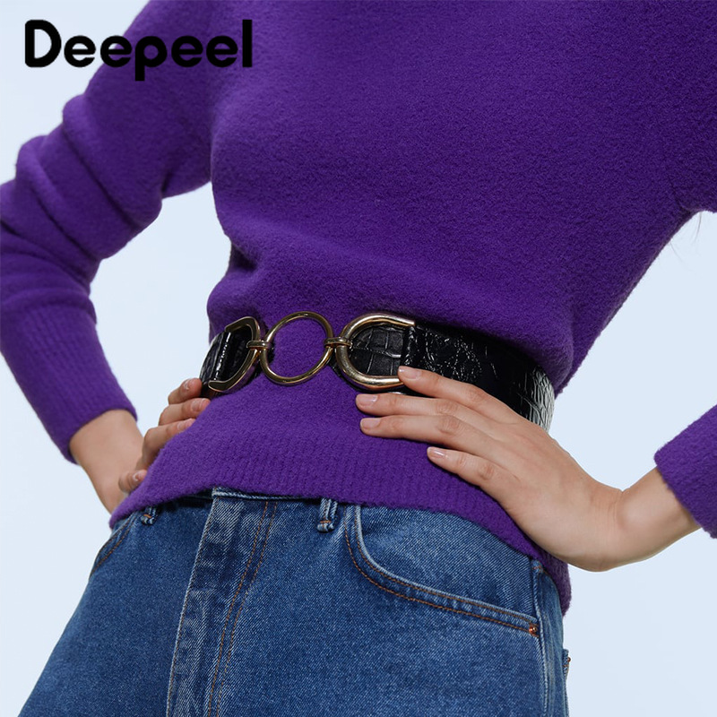 Deepeel 1pc 5*102.5cm Women PU Metal Ring Buckle Cummerbunds High Waist Wide Belt Crocodile Leather For Down Jacket Girdle CB634