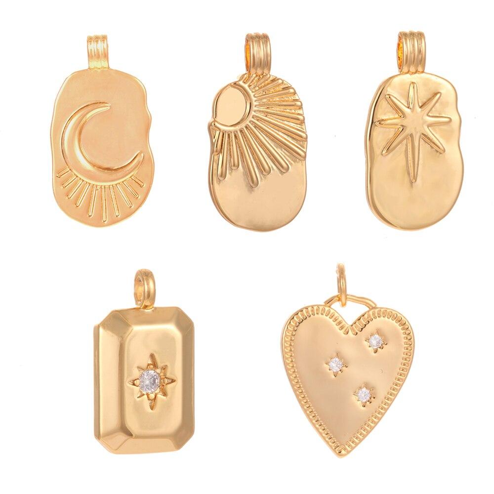 Breloques étoile pour la fabrication de bijoux fournitures en vrac charme soleil lune coeur bricolage boucle doreille collier breloques accessoires cuivre CZ or pendentif