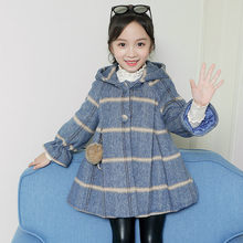 Kids Casual Winter Wool Hooded Dress Coat For Girls Long Sleeve Princess Thickened Warm Blend Coats 4-13