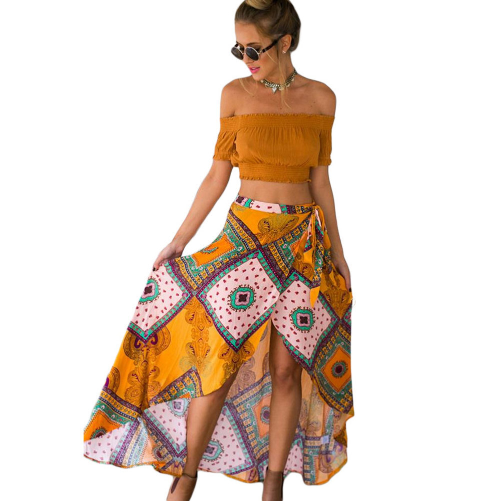Shi Ying New Style WOMEN'S Dress Retro National Style Unique Printed Dyed Non-symmetrical Maxi Skirt 65002