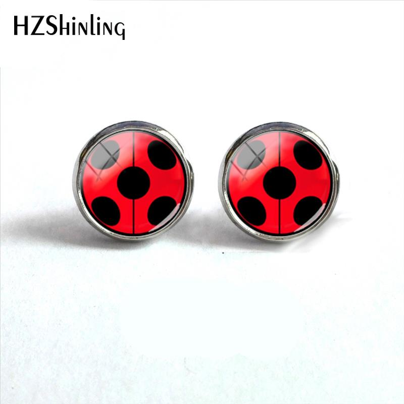 2018 New Ladybugs Round Earring Cute Animal Stud Earrings Gifts Children Color Jewelry Glass Cabochon Ear Studs Stainless Steel
