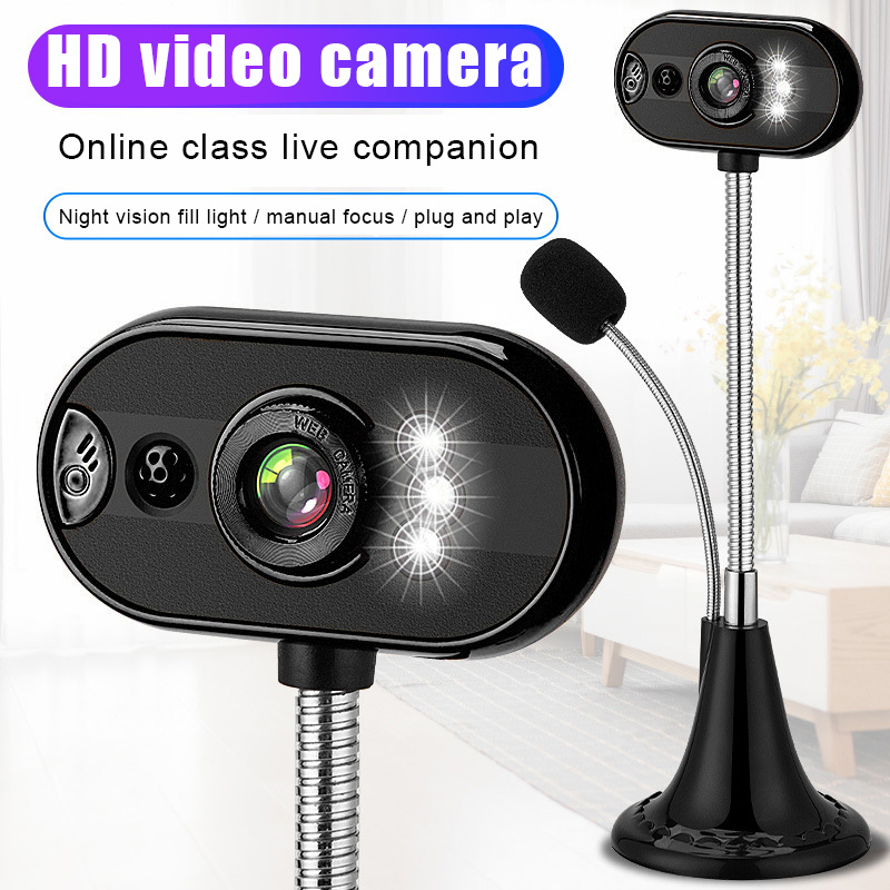 USB HD Webcam Camera with Mic Night Vision for Desktop Computer PC Laptop Home Office VDX99