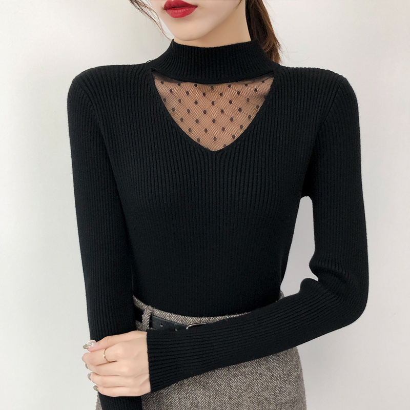 Lady's Style Half-neck Sweater With Lace Stitching 2009 New Long-sleeved Slim Knitted Underwear In Autumn And Winter