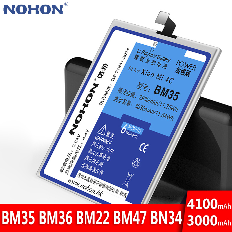 NOHON <font><b>Battery</b></font> For <font><b>Xiaomi</b></font> Mi <font><b>4C</b></font> 5S 5 <font><b>Mi4C</b></font> Mi5S Mi5 Redmi 5A 4X 3S 3 <font><b>BM35</b></font> BM36 BM22 BM47 BN34 Replacement Bateria Real Capacity image