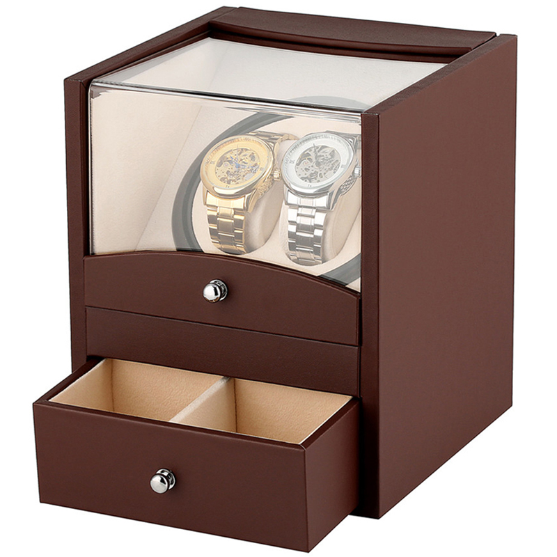 Automatic Watch Winder Box High Quality Leather Uhrenbeweger Watch Winding Motor Shaker Winding Rotator Black Brown Wood Casket