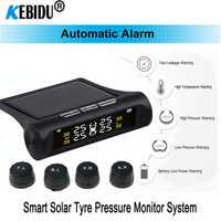 Smart Car TPMS Sistema de control de presión de neumáticos, potencia Solar, pantalla LCD Digital, sistemas de alarma de seguridad de neumáticos de coche, medidor de presión