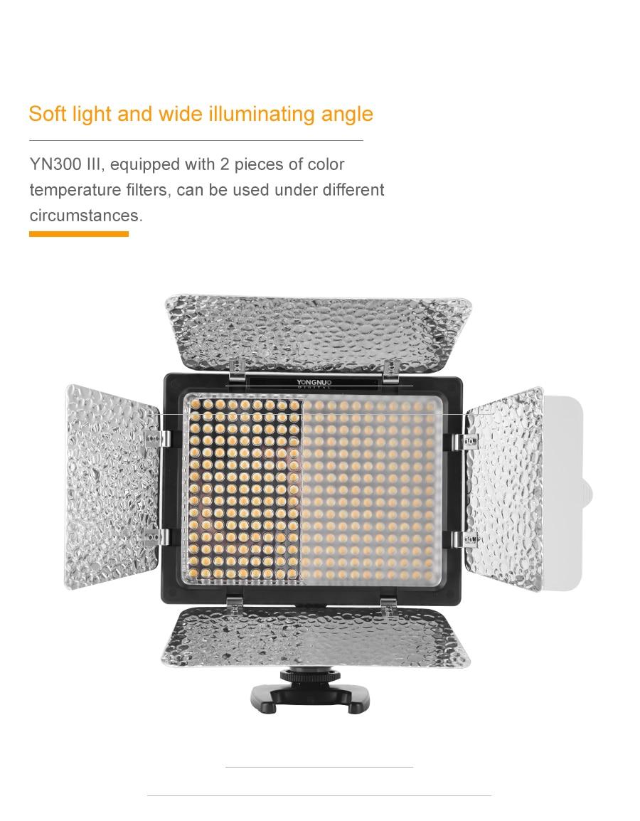 H917d66421a4a43b89f5ddefc2caf4d1dA Yongnuo YN300 III YN300III 3200k-5500K CRI95 Camera Photo LED Video Light Optional with AC Power Adapter + NP770 Battery KIT