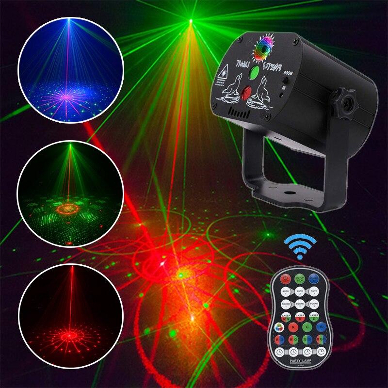 60 узоров светодиодный светильник для дискотеки Рождественский лазерный проектор вечерние светильник USB Перезаряжаемый RGB сценический свет...
