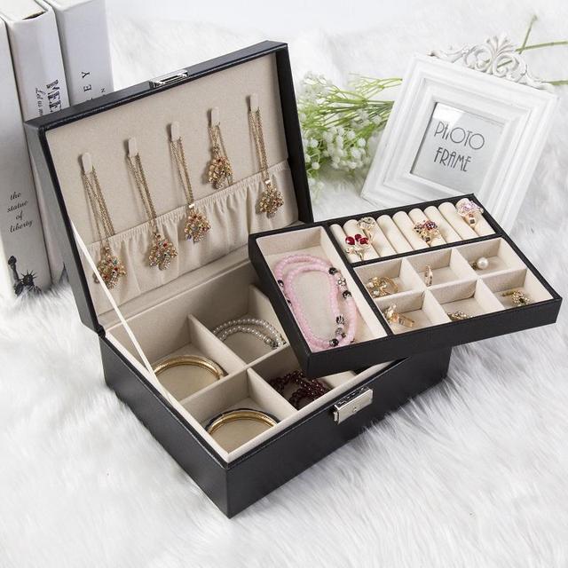 Lady PU Leather Wood Jewelry Box with Lock Storage Ring Display Case Portable Jewelry Organizer Joyeros