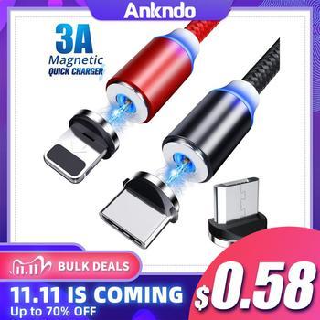 ANKNDO Micro USB kabel magnetyczny magnes kabel USB C 1m 2m szybki przewód ładowania dla iPhone Xiaomi telefon komórkowy ładowarka typ C przewód tanie i dobre opinie TYPE-C 2 4A CN (pochodzenie) NYLON USB A Magnetyczne 3 w 1 Podświetlany For IOS Cable Magnetic Cable Type C Micro USB