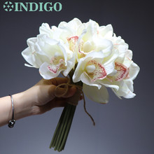 10 pcs/Lot White Cymbidium Orchids New PU Latex Orchid Bride Banquet Flower Real Touch Fake Wedding Party Free Shipping