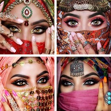 Full Square Drill Muslim 5D DIY Diamond Painting Masked Woman Embroidery Cross Stitch 3D Home Decor