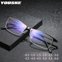 YOOSKE-gafas graduadas para miopía para hombre y mujer, lentes dioptrías con luz azul, de medio marco de negocios, para dioptrías, de-1,0-1,5-2,0 a 6
