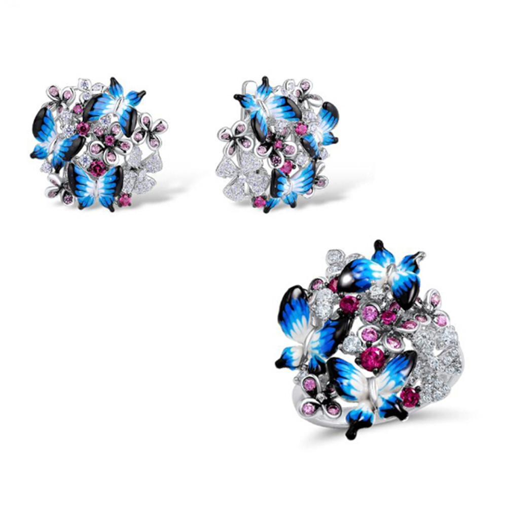 Jewelry Set for best girl 925 Sterling Silver HANDMADE Colorful Enamel Blue Butterfly CZ Ring Earrings Set fine Jewelry gift