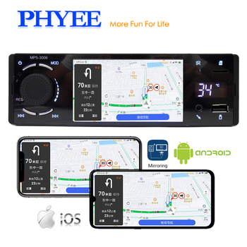 Bluetooth Car Radio 1 Din Mirror Link 4″ Touch Screen MP5 Video Player USB TF Handsfree A2DP Stereo System Head Unit PHYEE 3006
