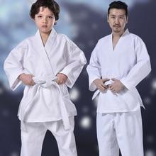 White Karate Uniform Set With Belt Waistband Judo Taekwondo For Adult Children School Student Kung Fu Training Gym