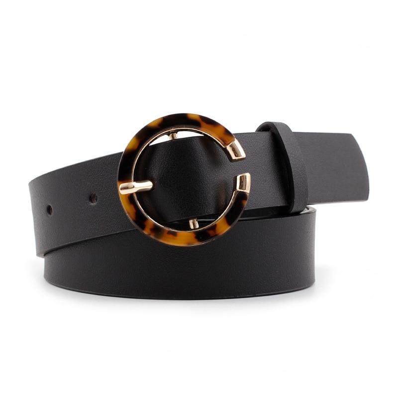 2020 Women Belt Leopard Print Waist Belts Female PU Leather Vintage Black Beige Belts For Ladies Dress Cinturones Para Mujer
