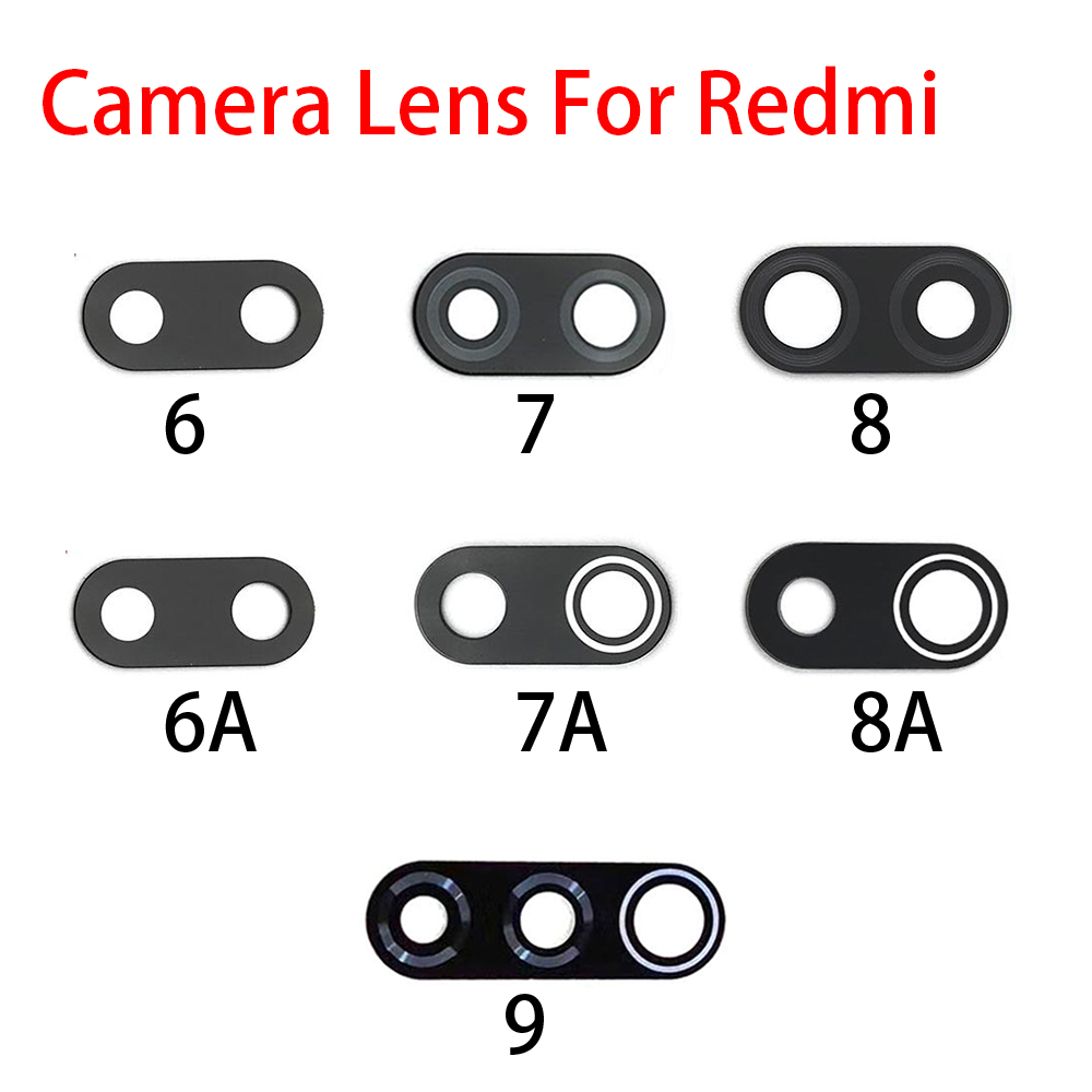 2pcs/lot New For <font><b>Xiaomi</b></font> <font><b>Redmi</b></font> 9A 9 8 8A 7 7A 6 6A <font><b>4X</b></font> Housing <font><b>Back</b></font> Camera glass Lens <font><b>Cover</b></font> with Adhesive replacement image