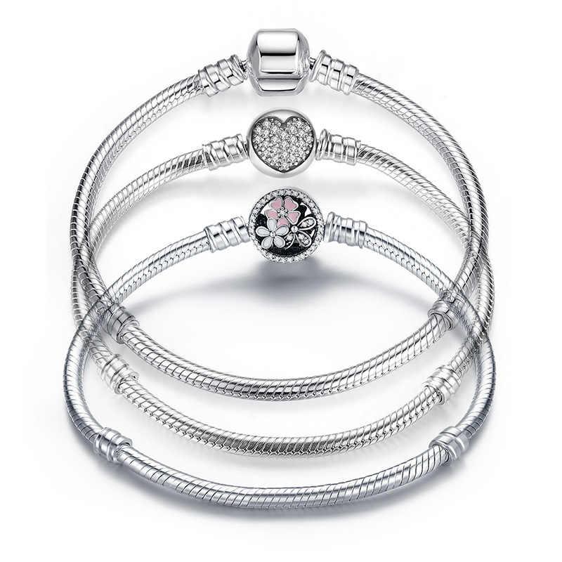 יוקרה 100% 925 סטרלינג כסף מקורי 3 סגנונות שרשרת צמיד צמיד לנשים Fit DIY קסם חרוז אותנטי תכשיטים מתנה
