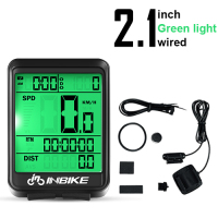 Green Light-Wired-INBIKE Waterproof Bicycle LED Digital Rate Wireless/Wired MTB Bike Odometer Stopwatch Speedometer