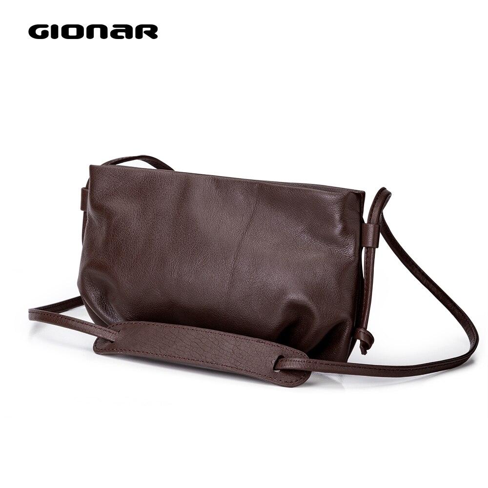 GIONAR Vintage Genuine Leather Designer Small Crossbody Purse Womens Crafted Handbags Messenger Bag Bolsas De Mujer