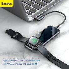 Baseus Hub USB C Sang HDMI RJ45 USB Đa Năng 3.0 Cho MacBook Pro Hub Sạc Không Dây Hab Bộ Chia USB Loại C Bộ Chuyển Đổi Jack Cắm AUX