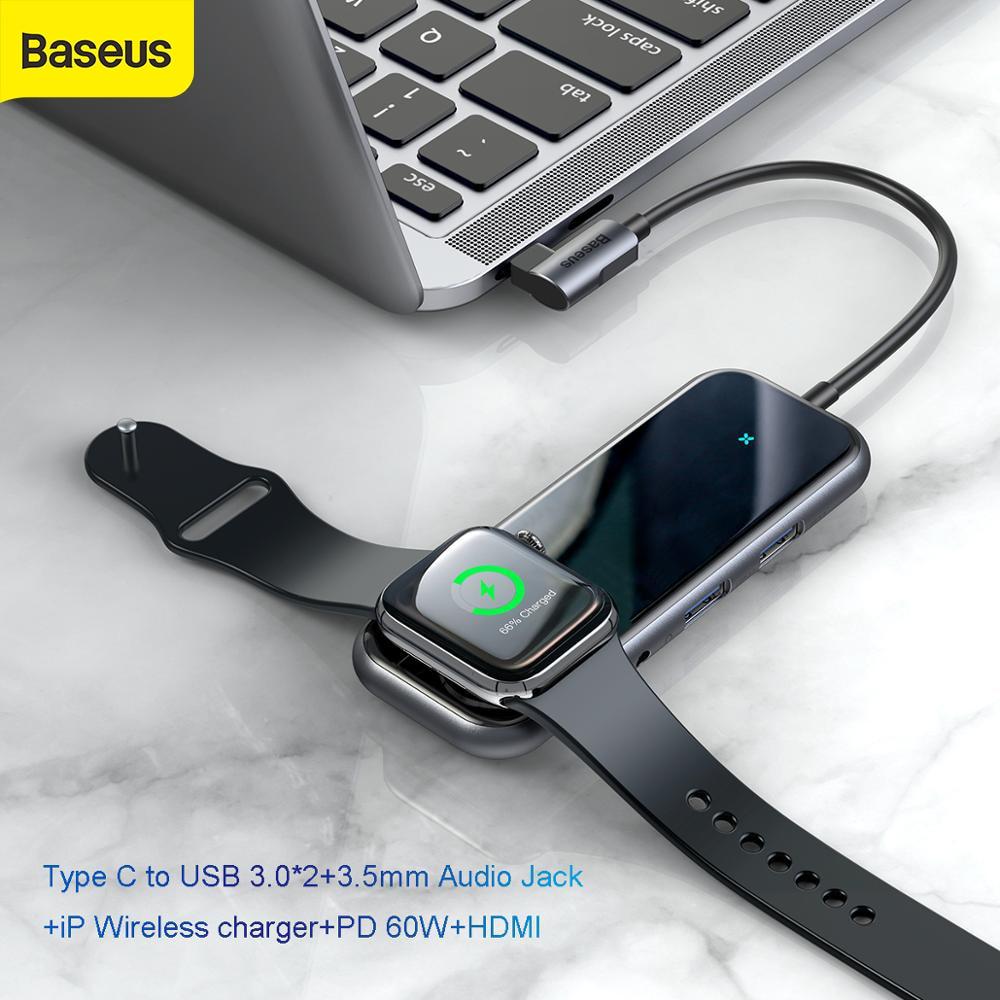Baseus USB C Hub To HDMI RJ45 Multi USB 3.0 For Macbook Pro HUB Wireless Charger Hab Usb Splitter Type C Adapter To Aux Jack