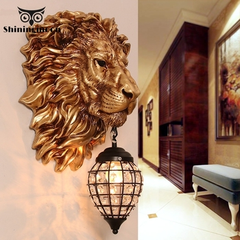 Nordic Luxury Lion LED Wall Lamp Modern Home Decor Kitchen Wall Light Vintage Bedroom Indoor Lighting Wall Sconce Light Fixtures wall sconce american country golden vintage led wall light fixtures for home indoor lighting beside lamp lamparas de pared