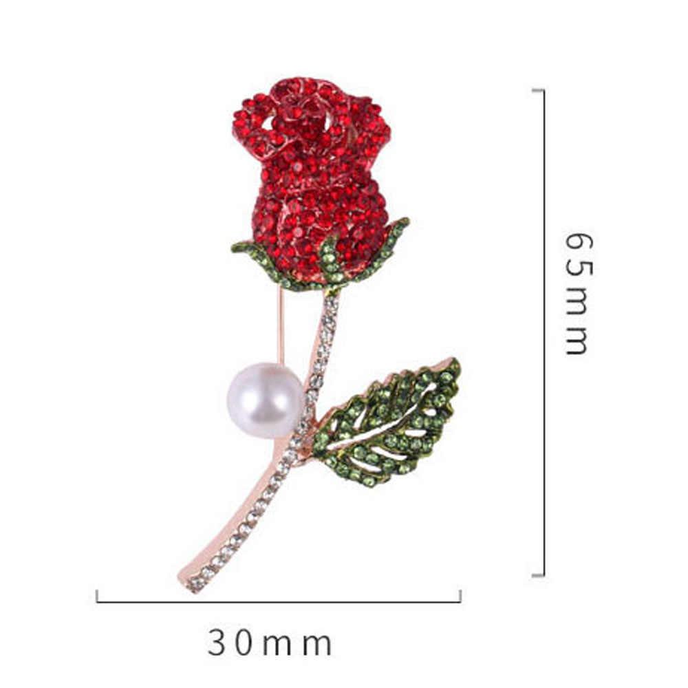 花のブローチ模造パールローズブーケロマンチックなチャームバッジ宴会スカーフピンファッション服アクセサリー 1PC