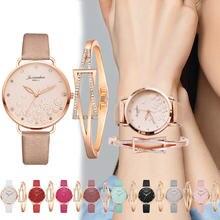 Модная женская кожаная обувь браслет часы комплект без Водонепроницаемый