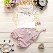 Baby Girl Clothing Set Summer New Cotton Girls Clothes Cartoon Kitten Short Tops Tees+overalls Outfits Kids 40