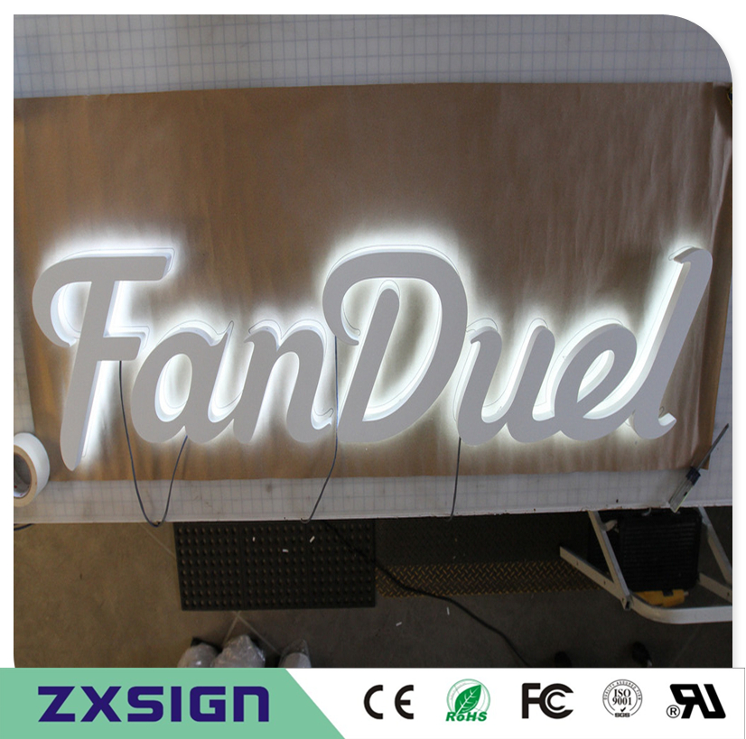 304# Stainless Steel LED Back Lit 3D Name Logo For Outdoor Business Signs, Halo Lit Metal Letters For Store Hotel Decoration