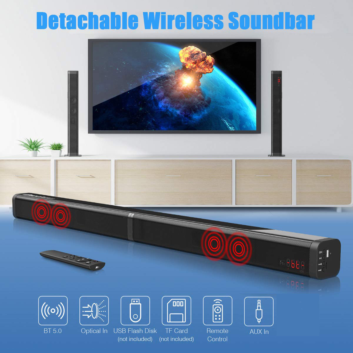 Detachable Bluetooth TV Soundbar wireless HiFi tower home theatre