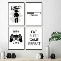 2019 New Design Boys Game Print Poster Illustration Gamer Quotes Canvas Painting Wall Art Pictures For Kids Room Home Decoration