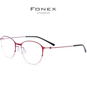 Image 3 - FONEX Titanium Alloy Glasses Men Round Prescription Eyeglasses Frame Women Myopia Optical FrameS Korean Screwless Eyewear 98612