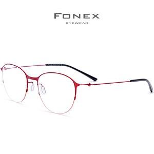 Image 3 - Fonexチタン合金メガネ男子ラウンド処方眼鏡フレーム女性近視光学フレーム韓国ネジなし眼鏡 98612