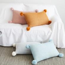 Funda de cojín de 30x50cm Vintage amarillo marfil Rosa verde pompón bola almohada cubierta de punto Zip abierto decoración del hogar sofá cama