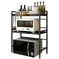 Modern simple kitchen shelf Floor type retractable adjustable three layer oven rice cooker kitchen storage rack organizer
