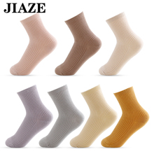 JIAZE socks Deodorant  Women thermal Socks Solid Color Cotton Autumn Comfortable Middle tube