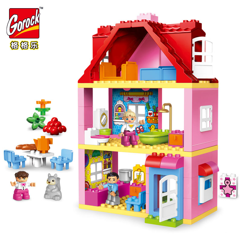 GOROCK 78 PCS Large Size Pink Villa Girls Big Building Blocks Set Kids Compatible With Duploe DIY Bricks Model Toys For Children