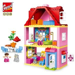 Image 1 - Gorock 78個大型ピンクヴィラ女の子ビッグビルディングブロックセット子供duploe diyレンガと互換性モデルのおもちゃ子供のための